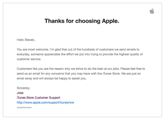 Follow up email example Apple 2