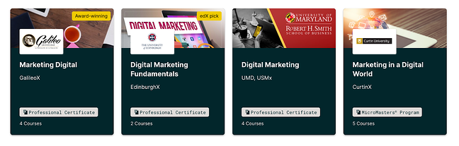 edX marketing certification course homepage