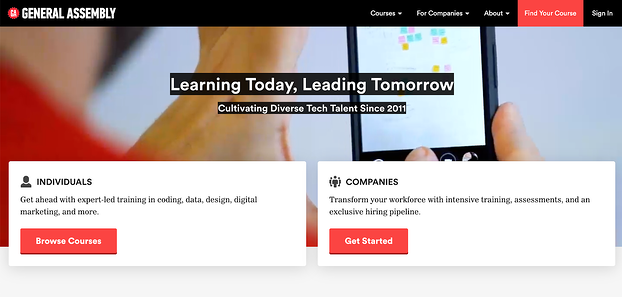 General Assembly certification course homepage