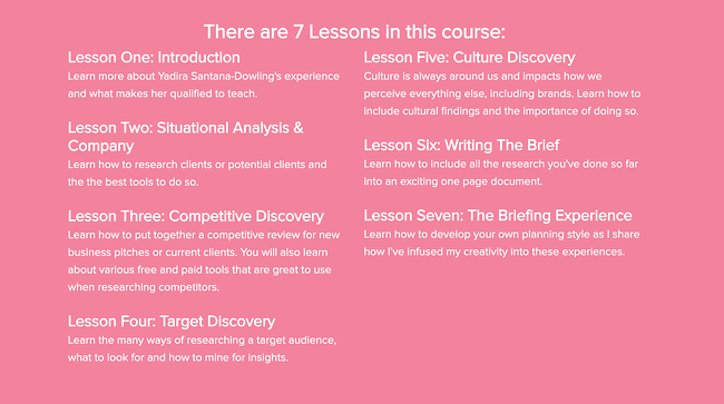 The 4-day creative brief marketing certification course homepage