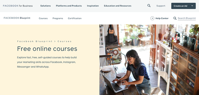 Facebook Blueprint marketing certification course homepage