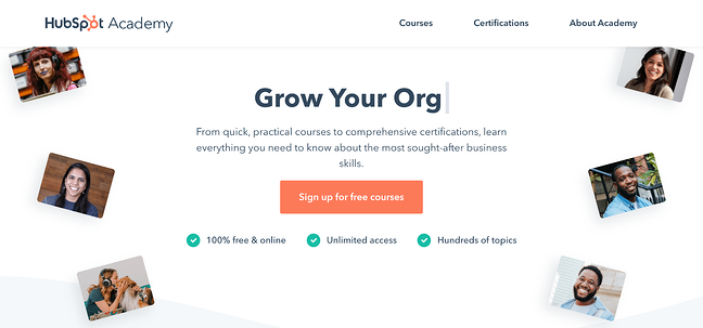 HubSpot Academy marketing certification course homepage