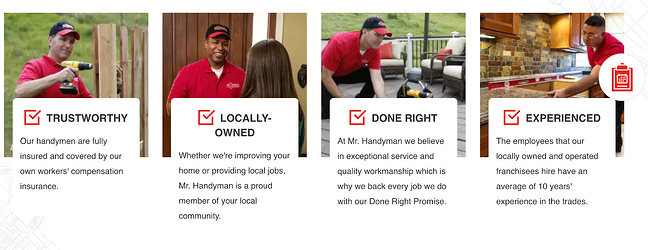 Handyman website homepage picturing four images of handymen helping clients with tasks