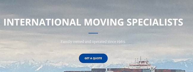 International moving specialists website featuring a button to get a quote on an international move