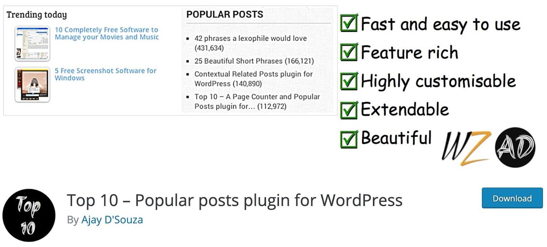 the wordpress popular post plugin Top 10