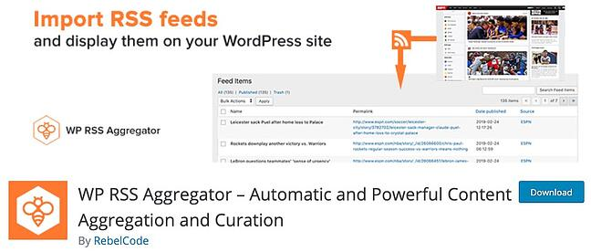 product page for the wordpress rss feed plugin WP RSS aggregator