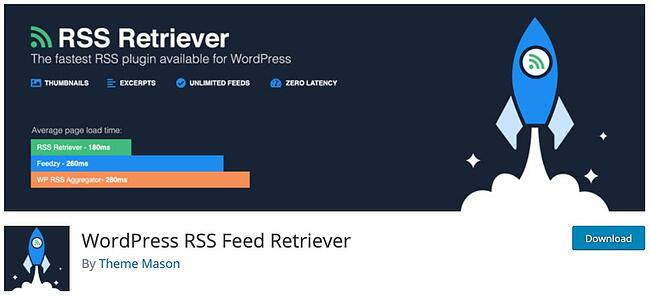 product page for the wordpress rss feed plugin rss feed retriever