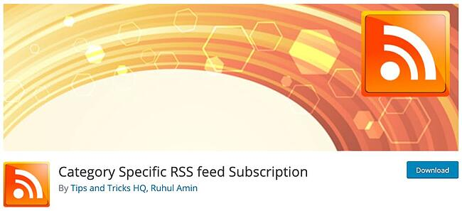 product page for the wordpress rss feed plugin category specific rss feed subscription
