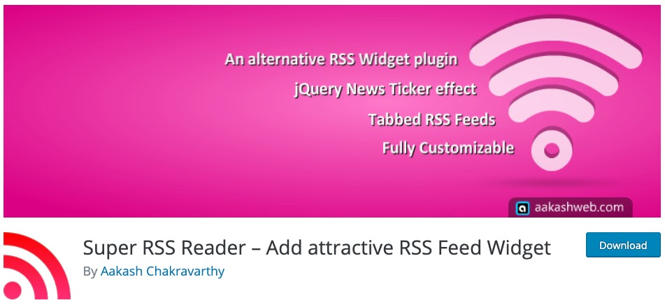 product page for the wordpress rss feed plugin super rss reader