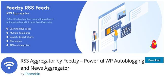 product page for the wordpress rss feed plugin Feedzy