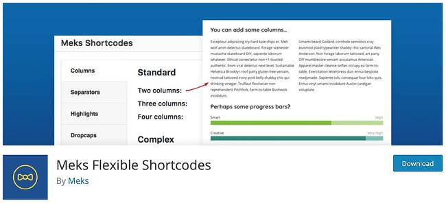 download page for the wordpress shortcode plugin meks flexible shortcodes