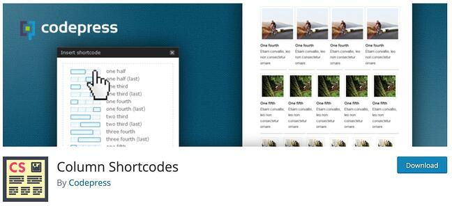 download page for the wordpress shortcode plugin column shortcodes
