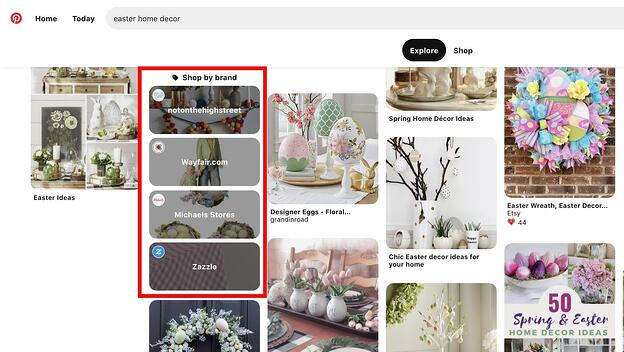 "Pinterest's ""Shop by Brand"" category on the search results page for ""easter home decor"""