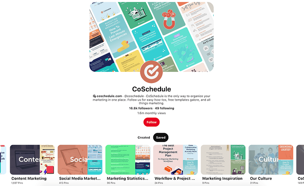 CoSchedule's Pinterest Boards