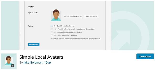 download page for the avatar wordpress plugin simple local avatars