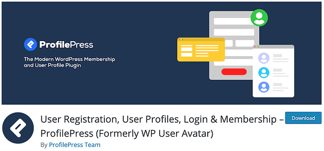 download page for the avatar wordpress plugin profilepress