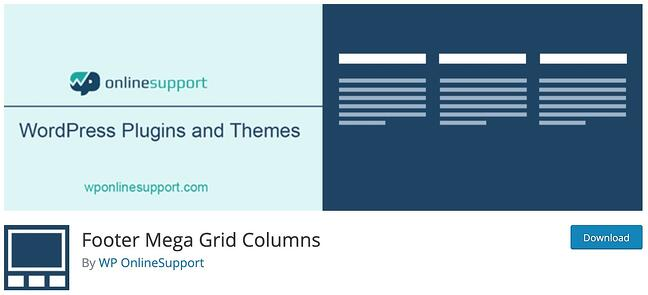 product page for the WordPress footer plugin Footer Mega Grid Columns