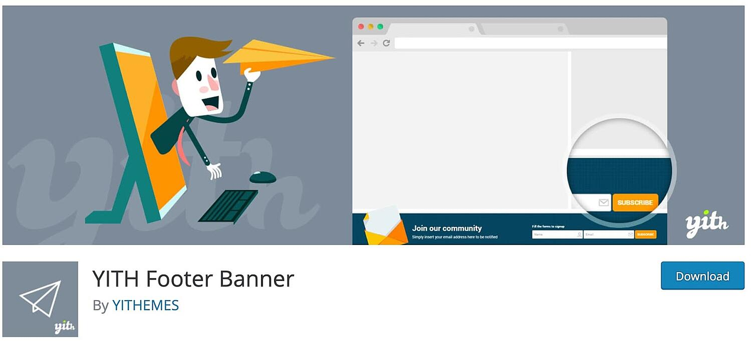 product page for the WordPress footer plugin YITH Footer Banner