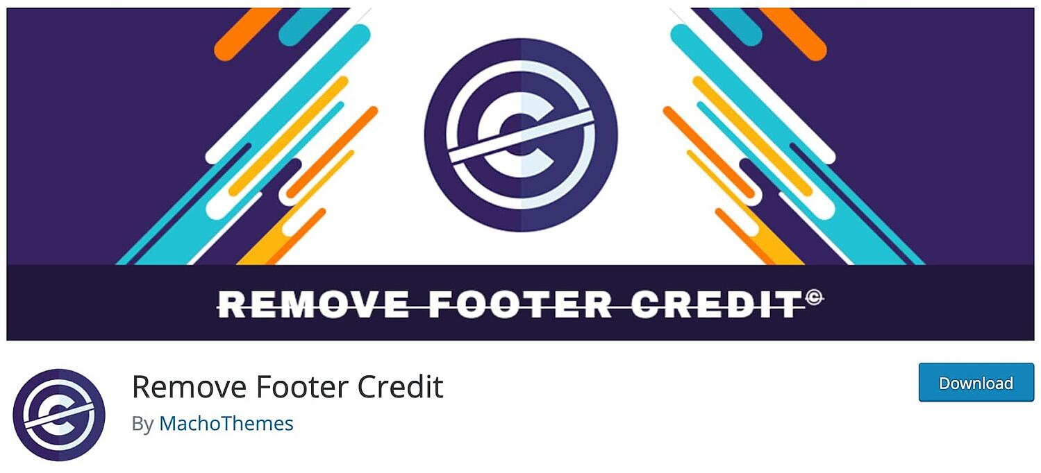 product page for the WordPress footer plugin Remove Footer Credit