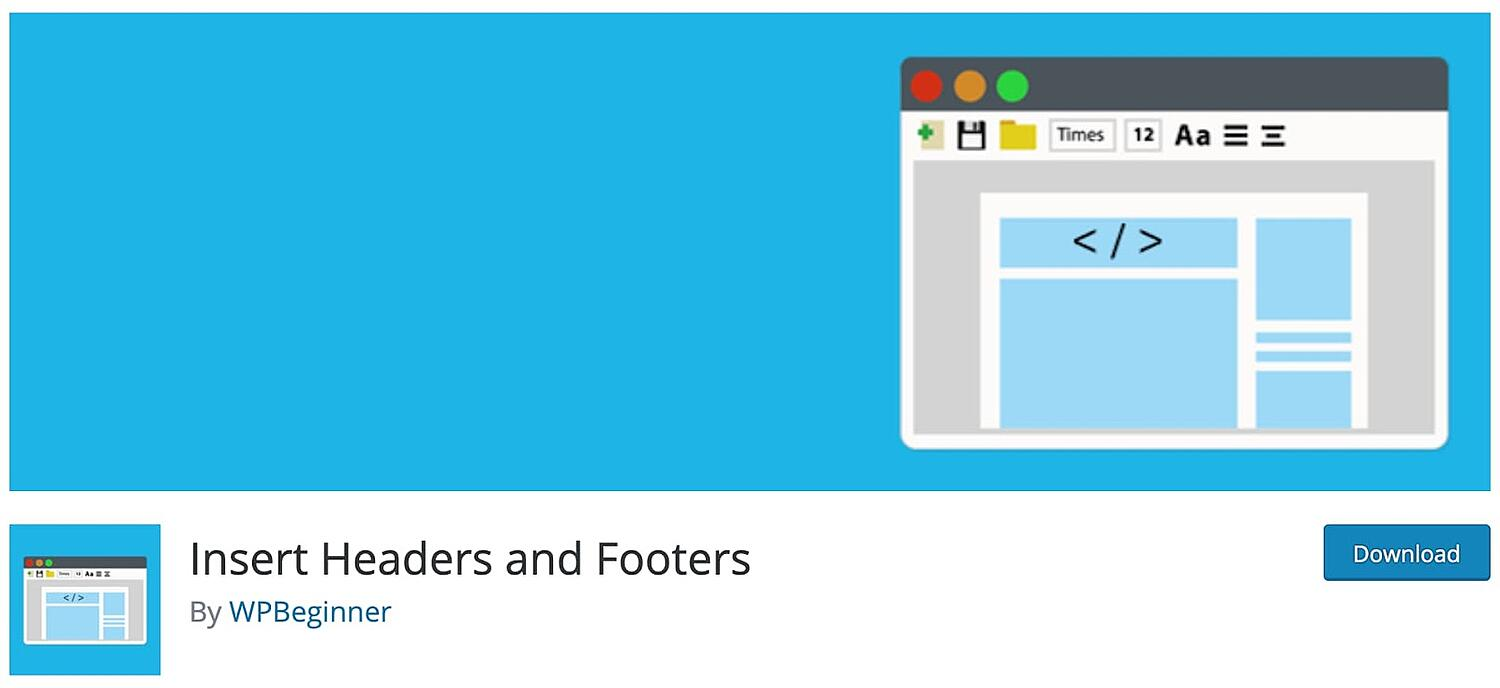 product page for the WordPress footer plugin Insert Headers and Footers