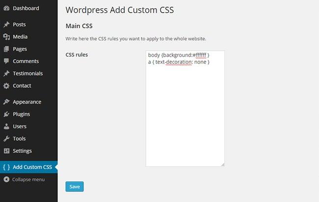 WP Add Custom CSS WordPress Plugin  viewed in the WordPress admin panel