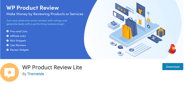 WP Product Review Lite plugin download with animated shopping images in blue and yellow