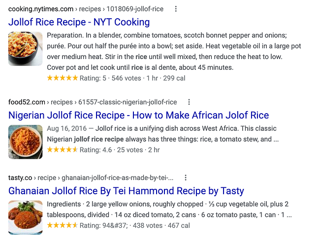 rich snippet SERP example of Jollof Rice Recipe