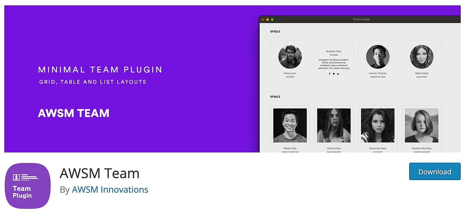 product page for the wordpress team member plugin ASWM Team