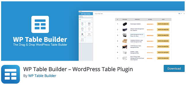 product page for the wordpress table plugin WP Table Builder
