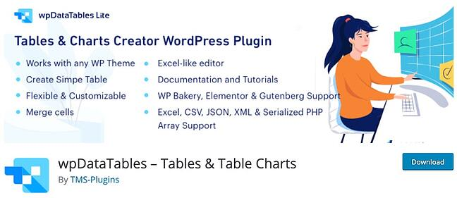 product page for the wordpress table plugin wpdatatables