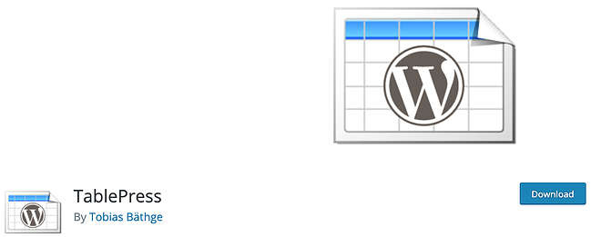 product page for the wordpress table plugin tablepress