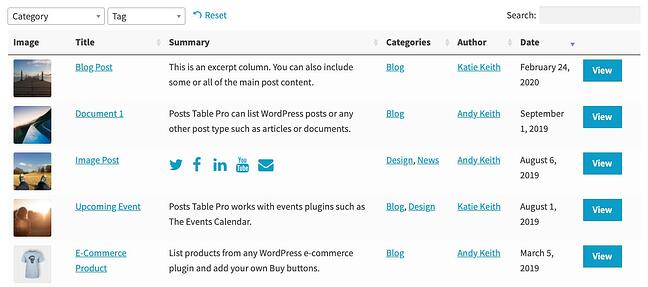 product page for the wordpress table plugin posts tables pro
