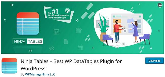 product page for the wordpress table plugin ninja tables