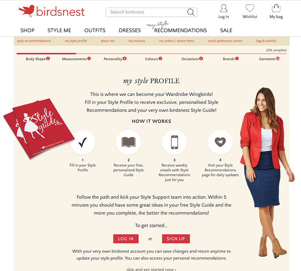 birdsnest style me australian shopping website demo