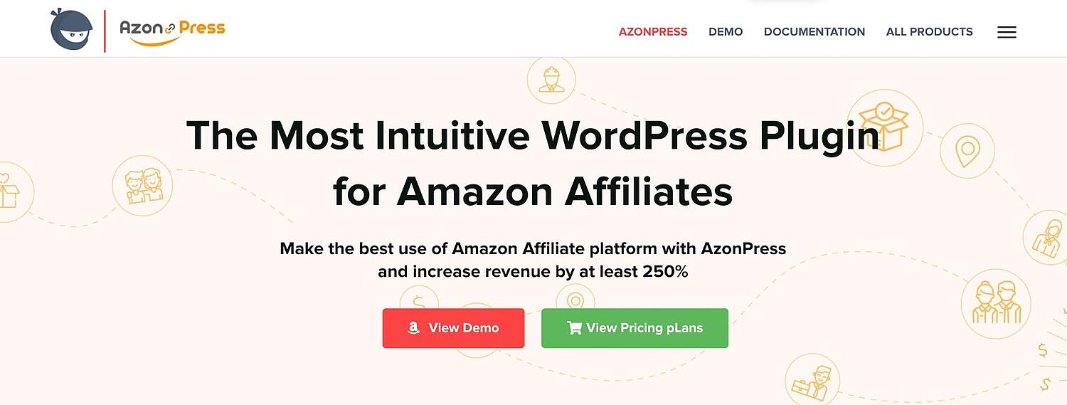 product page for the amazon affiliate wordpress plugin AzonPress