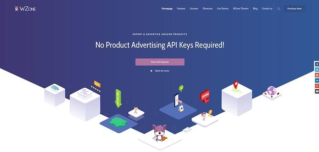 product page for the amazon affiliate wordpress plugin WZone