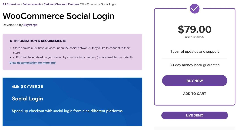 the WordPress social login plugin WooCommerce Social Login