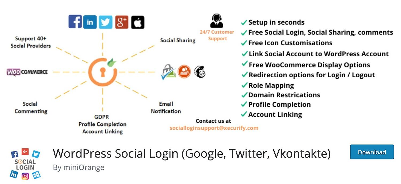 the WordPress social login plugin Social Sharing
