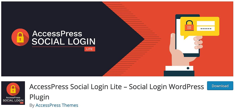 the WordPress social login plugin AccessPress