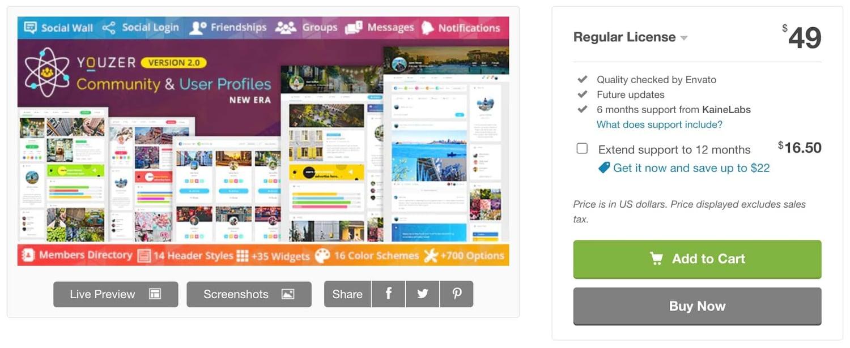 the WordPress social login plugin Youzer