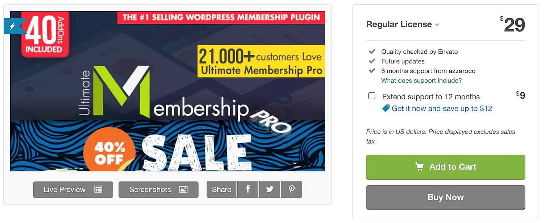 the WordPress social login plugin Ultimate Membership Pro