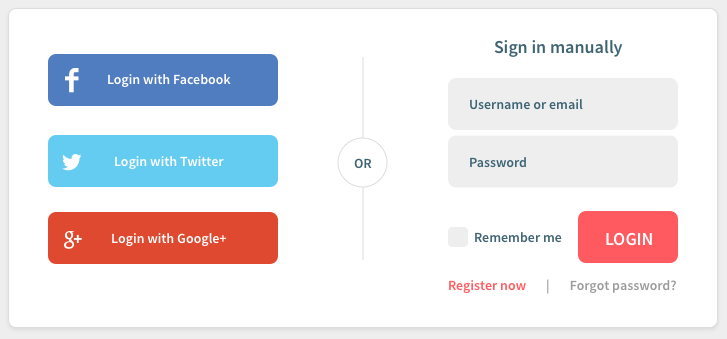 an example of a social login on a website