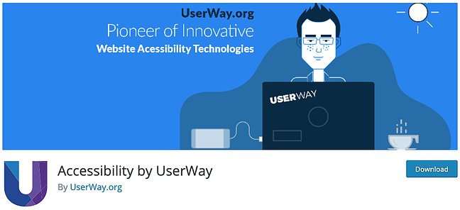 download page for the wordpress accessibility plugin userway