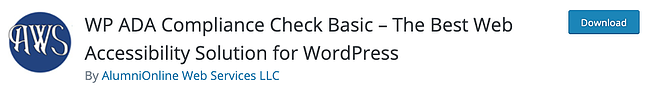 download page for the wordpress accessibility plugin WP ADA Compliance Check Basic