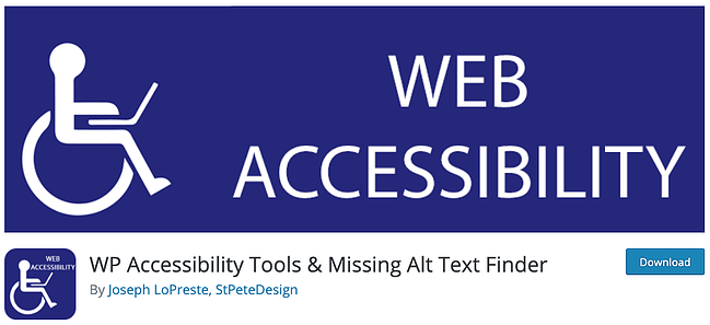download page for the wordpress accessibility plugin WP Accessibility Tools and Missing Alt Text Finder
