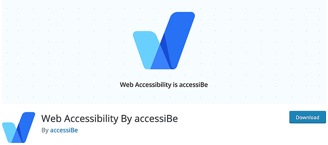 download page for the wordpress accessibility plugin accessibe