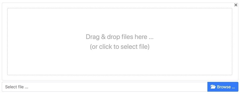 a drag-and-drop file upload web design pattern example