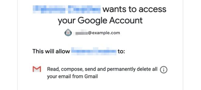 Gmail SMTP authorization page