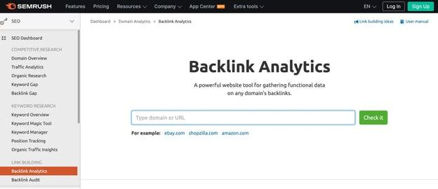SEMrush backlink analysis tool