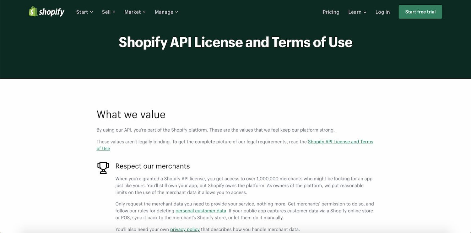 Shopify API Documentation includes Terms of Use